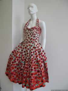 1950's Gorgeous Poppy print vintage halter neck sundress **SOLD**